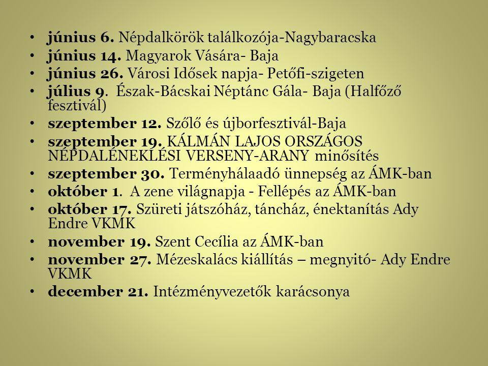 június 6.Népdalkörök találkozója-Nagybaracska június 14.