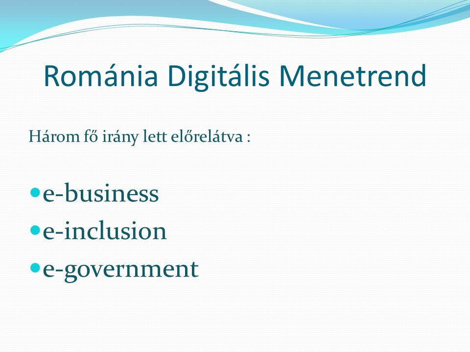 Románia Digitális Menetrend Három fő irány lett előrelátva : e-business e-inclusion e-government