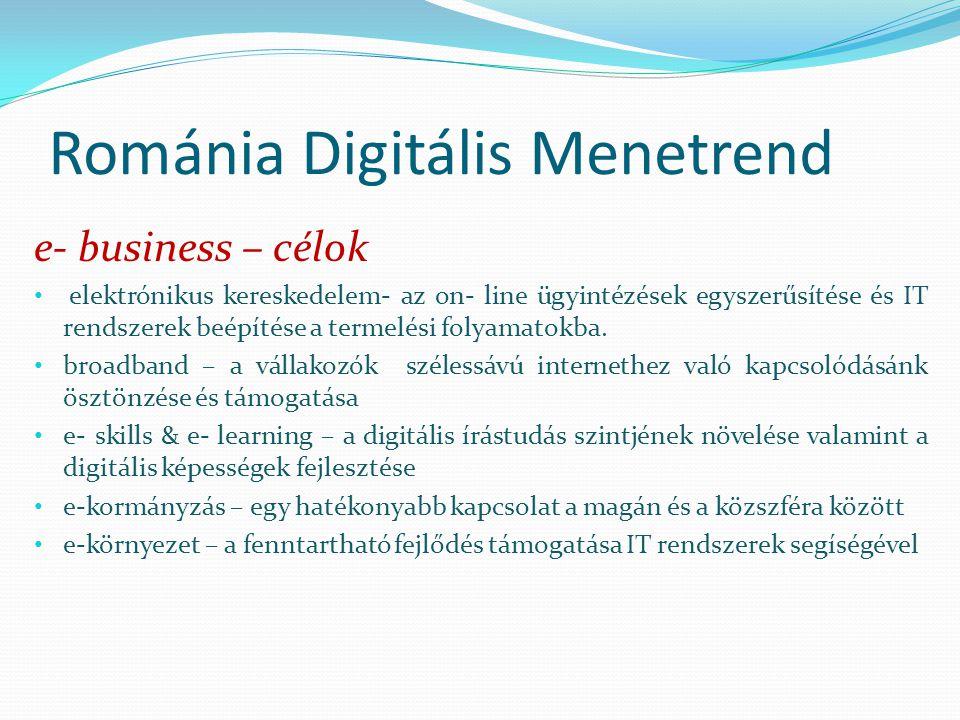 Románia Digitális Menetrend e- business – célok elektrónikus kereskedelem- az on- line ügyintézések egyszerűsítése és IT rendszerek beépítése a termelési folyamatokba.