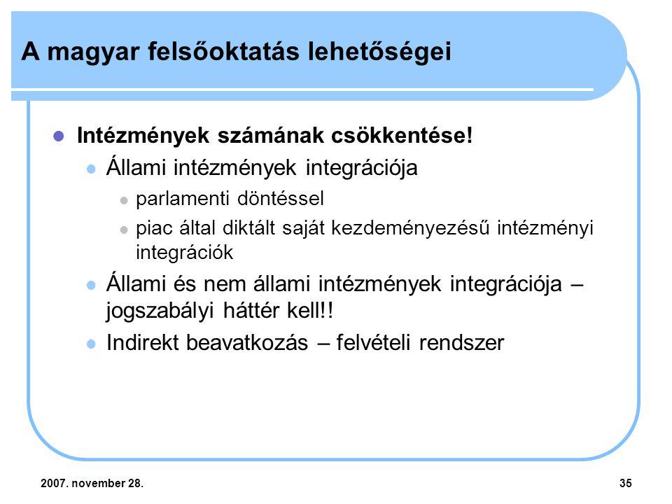2007. november 28.35 A magyar felsőoktatás lehetőségei Intézmények számának csökkentése.