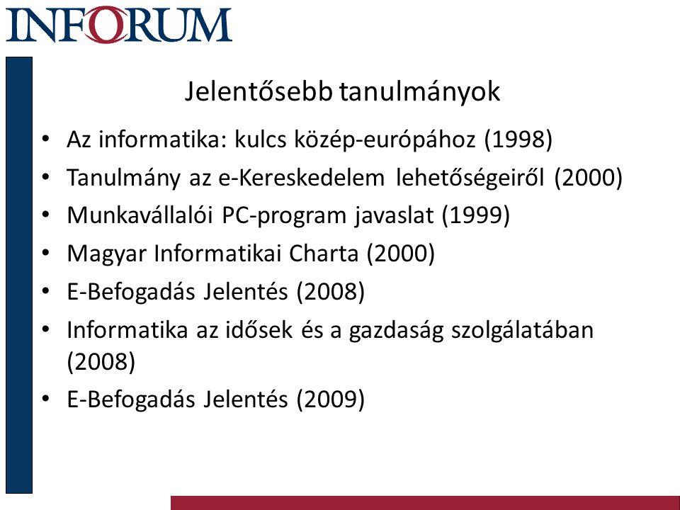 Jelentősebb tanulmányok Az informatika: kulcs közép-európához (1998) Tanulmány az e-Kereskedelem lehetőségeiről (2000) Munkavállalói PC-program javasl