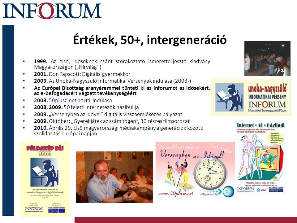 """Értékek, 50+, intergeneráció 1999. Az első, időseknek szánt szórakoztató ismeretterjesztő kiadvány Magyarországon (""""Hírvilág"""") 2001. Don Tapscott: Dig"""