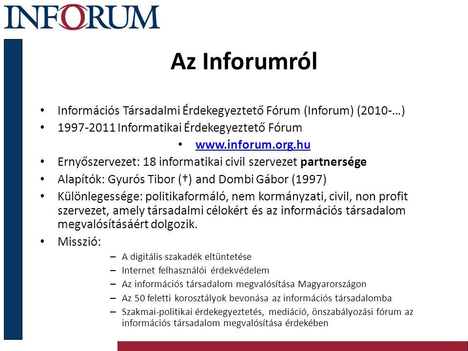Az Inforumról Információs Társadalmi Érdekegyeztető Fórum (Inforum) (2010-…) 1997-2011 Informatikai Érdekegyeztető Fórum www.inforum.org.hu Ernyőszerv