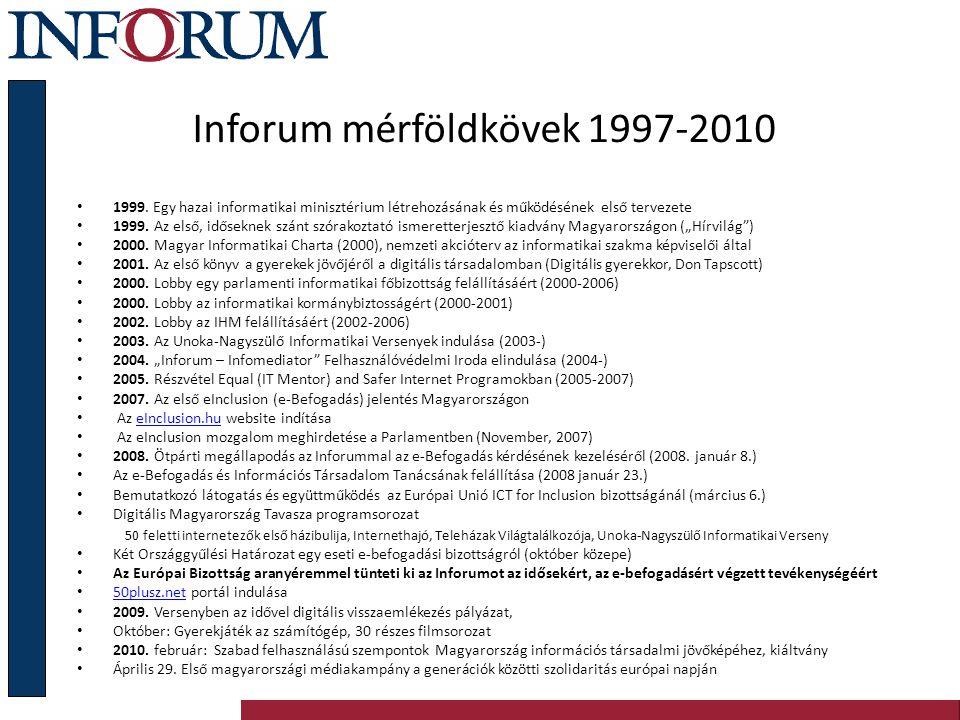 Inforum mérföldkövek 1997-2010 1999. Egy hazai informatikai minisztérium létrehozásának és működésének első tervezete 1999. Az első, időseknek szánt s