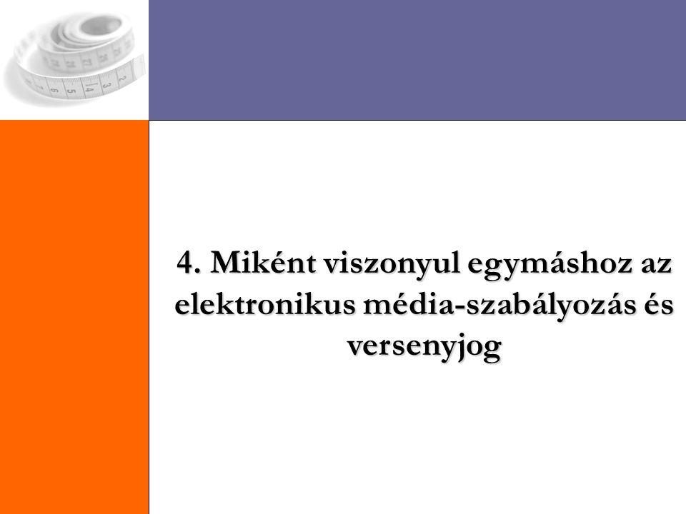 4. Miként viszonyul egymáshoz az elektronikus média-szabályozás és versenyjog