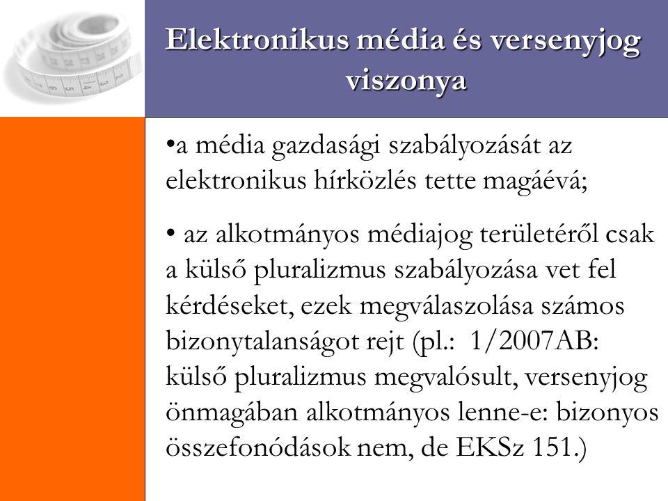Elektronikus média és versenyjog viszonya a média gazdasági szabályozását az elektronikus hírközlés tette magáévá; az alkotmányos médiajog területéről csak a külső pluralizmus szabályozása vet fel kérdéseket, ezek megválaszolása számos bizonytalanságot rejt (pl.: 1/2007AB: külső pluralizmus megvalósult, versenyjog önmagában alkotmányos lenne-e: bizonyos összefonódások nem, de EKSz 151.)