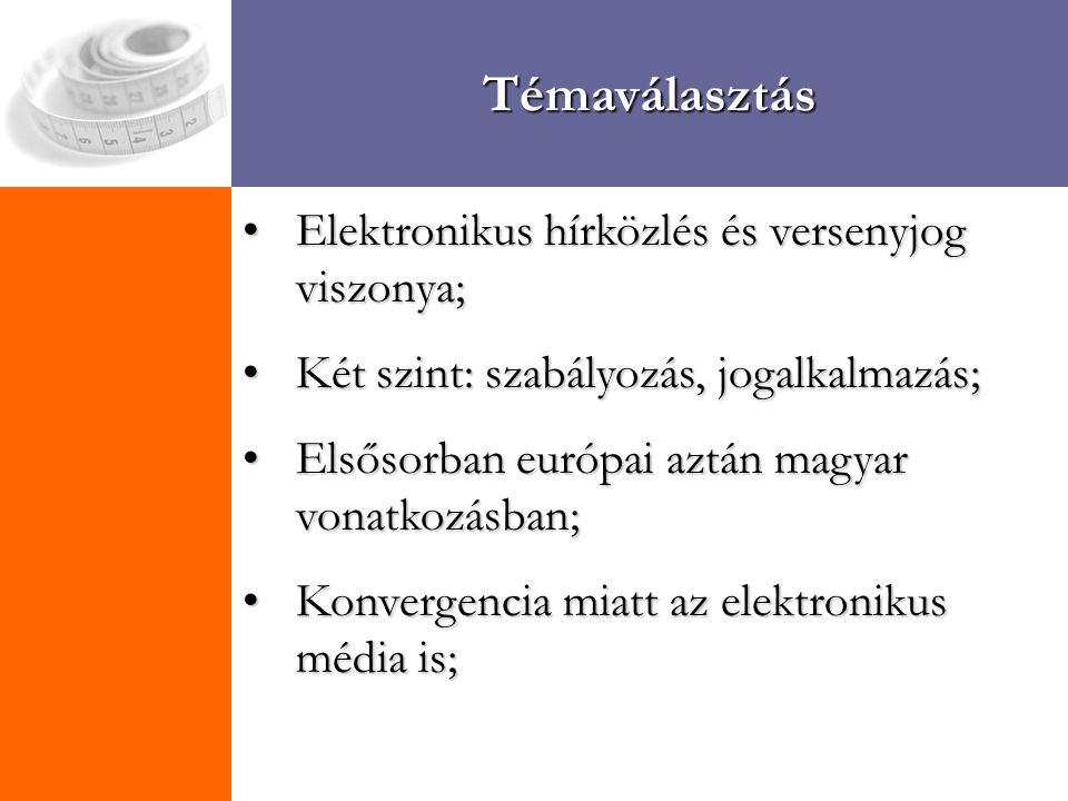 Témaválasztás Elektronikus hírközlés és versenyjog viszonya;Elektronikus hírközlés és versenyjog viszonya; Két szint: szabályozás, jogalkalmazás;Két szint: szabályozás, jogalkalmazás; Elsősorban európai aztán magyar vonatkozásban;Elsősorban európai aztán magyar vonatkozásban; Konvergencia miatt az elektronikus média is;Konvergencia miatt az elektronikus média is;