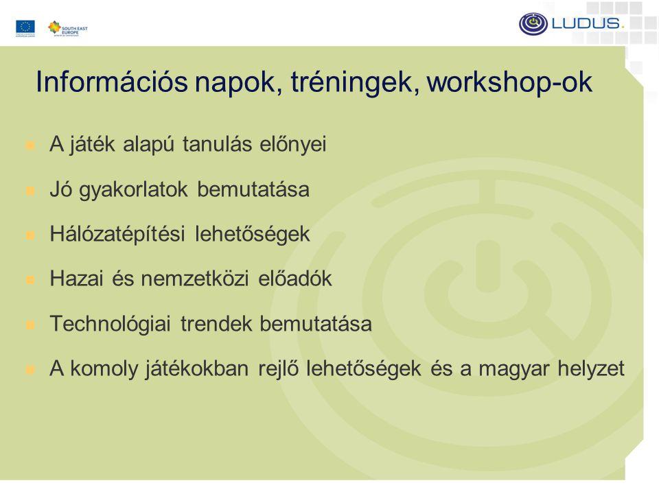 Információs napok, tréningek, workshop-ok A játék alapú tanulás előnyei Jó gyakorlatok bemutatása Hálózatépítési lehetőségek Hazai és nemzetközi előadók Technológiai trendek bemutatása A komoly játékokban rejlő lehetőségek és a magyar helyzet