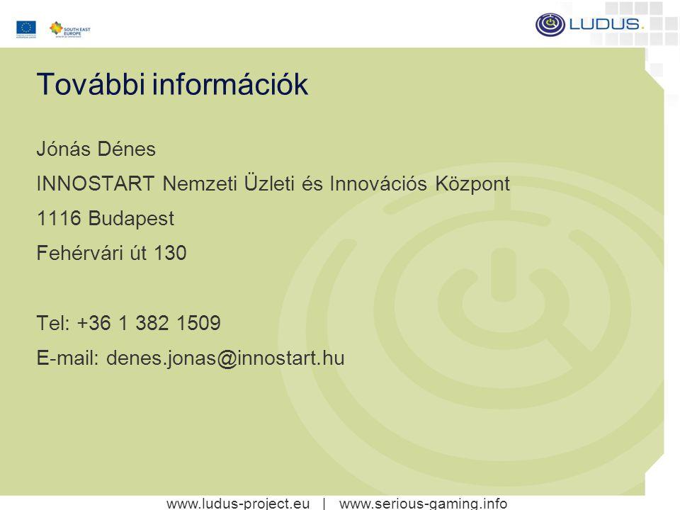 További információk Jónás Dénes INNOSTART Nemzeti Üzleti és Innovációs Központ 1116 Budapest Fehérvári út 130 Tel: +36 1 382 1509 E-mail: denes.jonas@innostart.hu