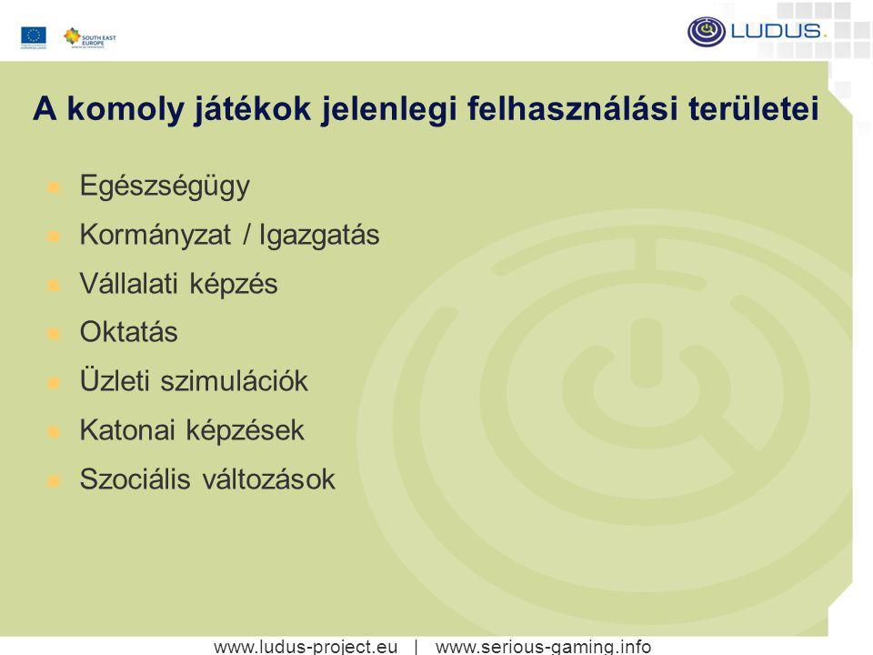 www.ludus-project.eu | www.serious-gaming.info A komoly játékok jelenlegi felhasználási területei Egészségügy Kormányzat / Igazgatás Vállalati képzés Oktatás Üzleti szimulációk Katonai képzések Szociális változások