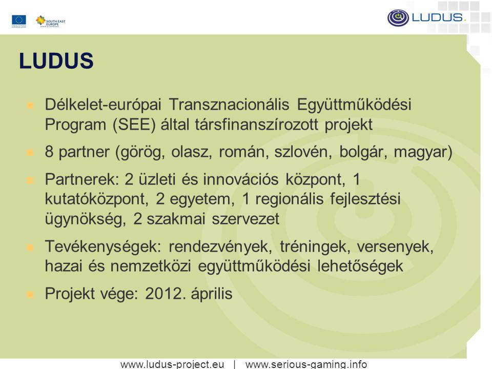 www.ludus-project.eu | www.serious-gaming.info A LUDUS projekt célkitűzései A komoly játékokban érdekelt szereplők összehozása Nemzetközi tudástranszfer elősegítése A komoly játékok területén végzett kutatások és fejlesztések támogatása Versenyképesség fejlesztése Nemzetközi együttműködések elősegítése - kutatók, egyetemek, - technológiai és innovációs központok valamint az - üzleti élet szereplői között