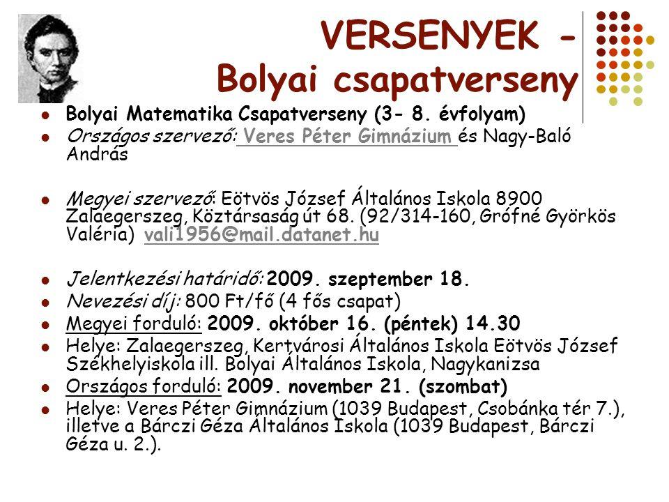 VERSENYEK - Bolyai csapatverseny Bolyai Matematika Csapatverseny (3- 8. évfolyam) Országos szervező: Veres Péter Gimnázium és Nagy-Baló András Veres P