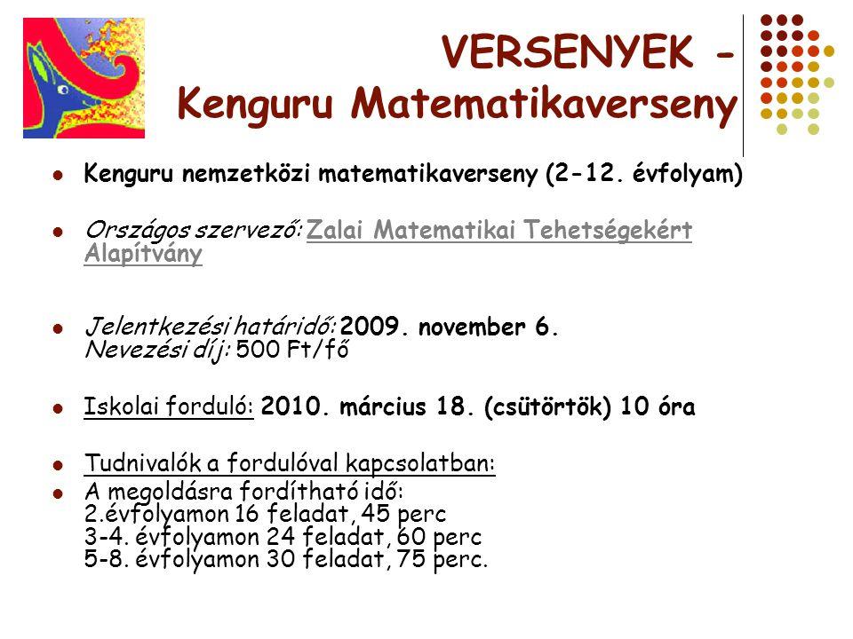 VERSENYEK - Kenguru Matematikaverseny Kenguru nemzetközi matematikaverseny (2-12. évfolyam) Országos szervező: Zalai Matematikai Tehetségekért Alapítv
