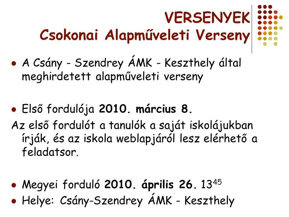 VERSENYEK Csokonai A lapműveleti Verseny A Csány - Szendrey ÁMK - Keszthely által meghirdetett alapműveleti verseny Első fordulója 2010. március 8. Az