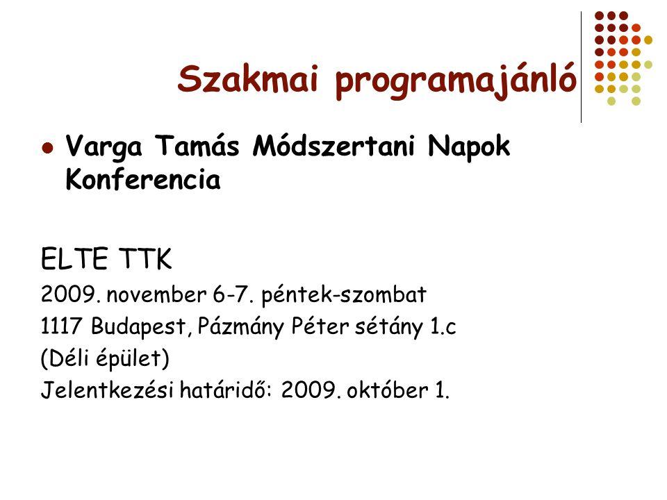 Szakmai programajánló Varga Tamás Módszertani Napok Konferencia ELTE TTK 2009. november 6-7. péntek-szombat 1117 Budapest, Pázmány Péter sétány 1.c (D