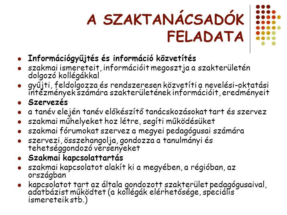 A SZAKTANÁCSADÓK FELADATA Információgyűjtés és információ közvetítés szakmai ismereteit, információit megosztja a szakterületén dolgozó kollégákkal gy