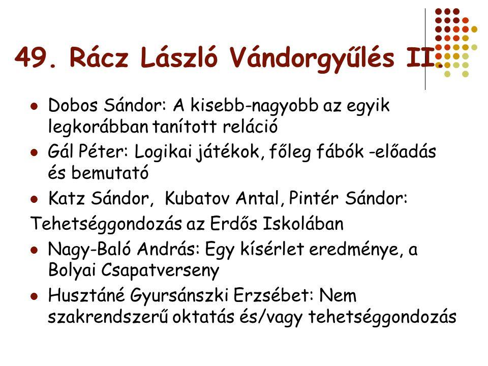 Szakmai programajánló Varga Tamás Módszertani Napok Konferencia ELTE TTK 2009.