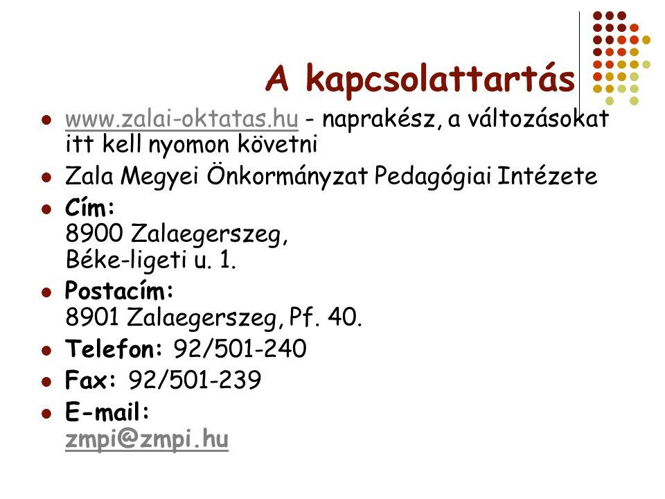 A kapcsolattartás www.zalai-oktatas.hu - naprakész, a változásokat itt kell nyomon követni www.zalai-oktatas.hu Zala Megyei Önkormányzat Pedagógiai In