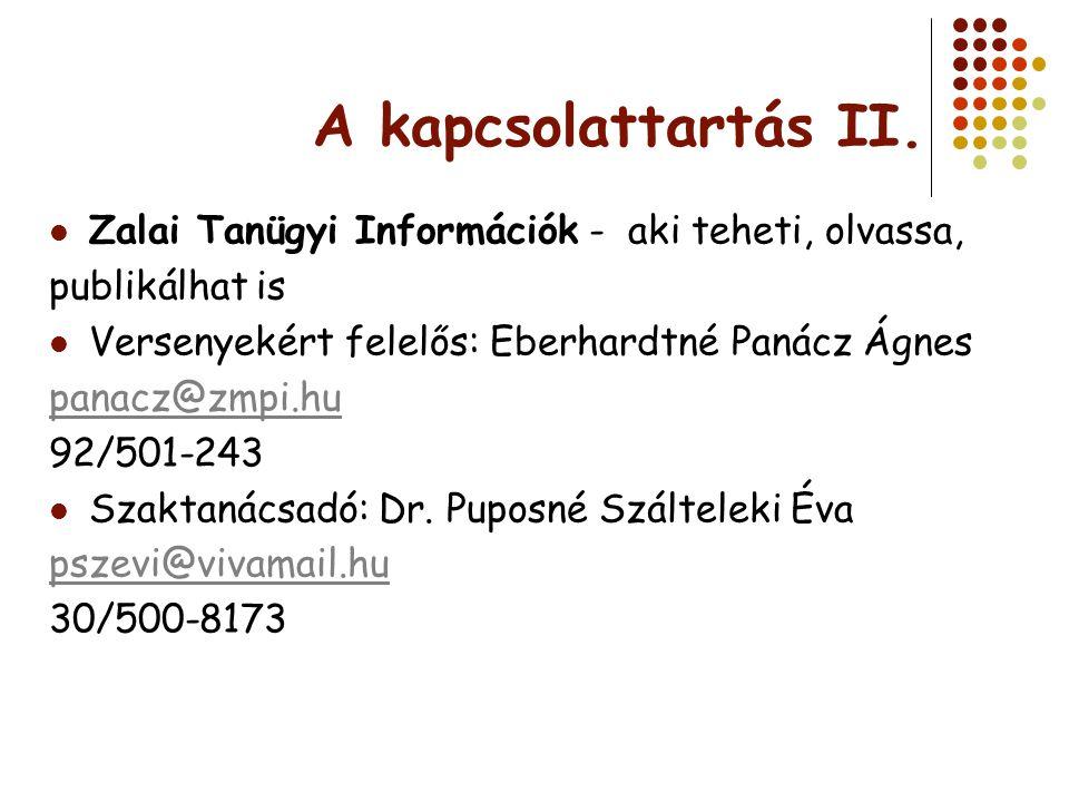 A kapcsolattartás II. Zalai Tanügyi Információk - aki teheti, olvassa, publikálhat is Versenyekért felelős: Eberhardtné Panácz Ágnes panacz@zmpi.hu 92