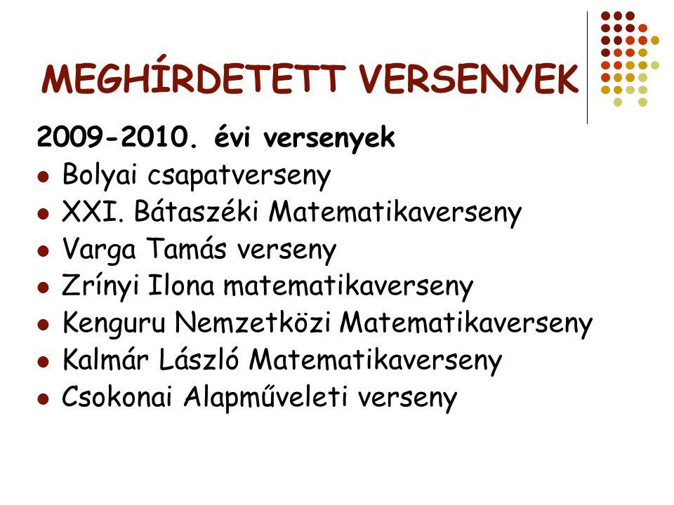MEGHÍRDETETT VERSENYEK 2009-2010. évi versenyek Bolyai csapatverseny XXI. Bátaszéki Matematikaverseny Varga Tamás verseny Zrínyi Ilona matematikaverse