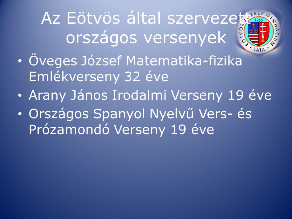 Az Eötvös által szervezett országos versenyek Öveges József Matematika-fizika Emlékverseny 32 éve Arany János Irodalmi Verseny 19 éve Országos Spanyol