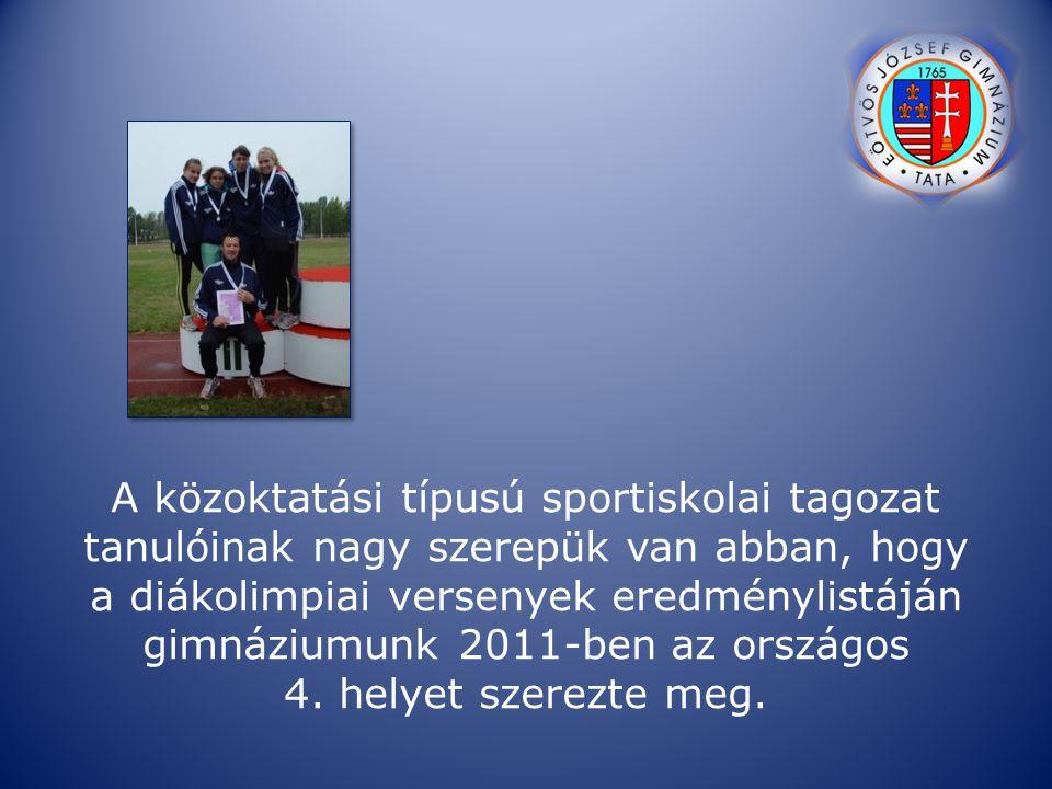 A közoktatási típusú sportiskolai tagozat tanulóinak nagy szerepük van abban, hogy a diákolimpiai versenyek eredménylistáján gimnáziumunk 2011-ben az