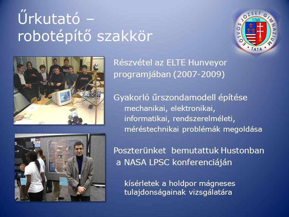 Űrkutató – robotépítő szakkör Részvétel az ELTE Hunveyor programjában (2007-2009) Gyakorló űrszondamodell építése mechanikai, elektronikai, informatik