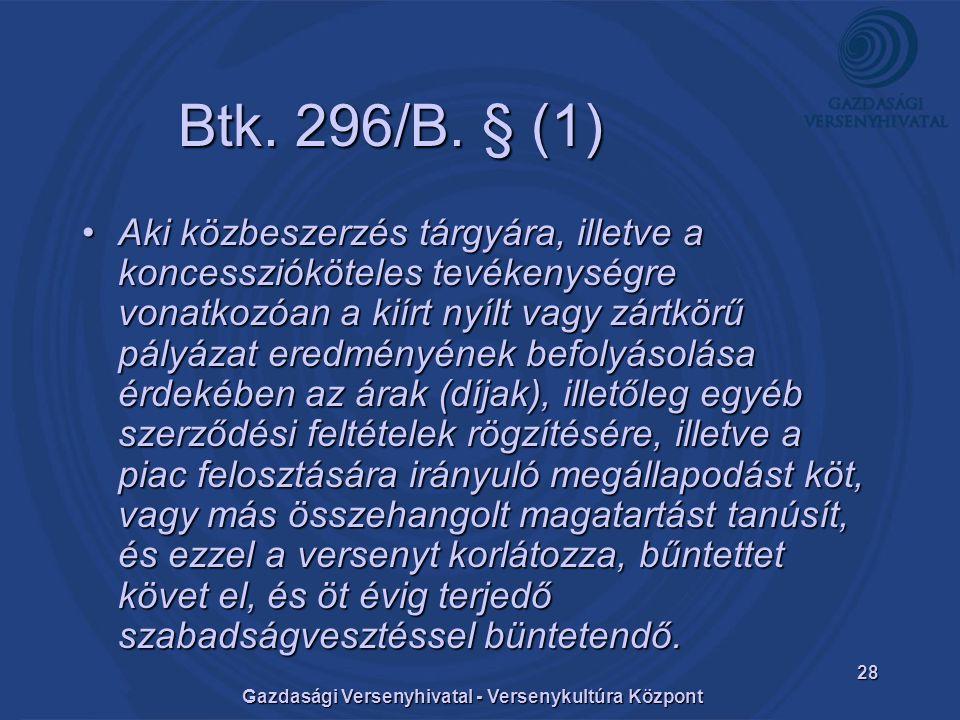 Gazdasági Versenyhivatal - Versenykultúra Központ 28 Btk.