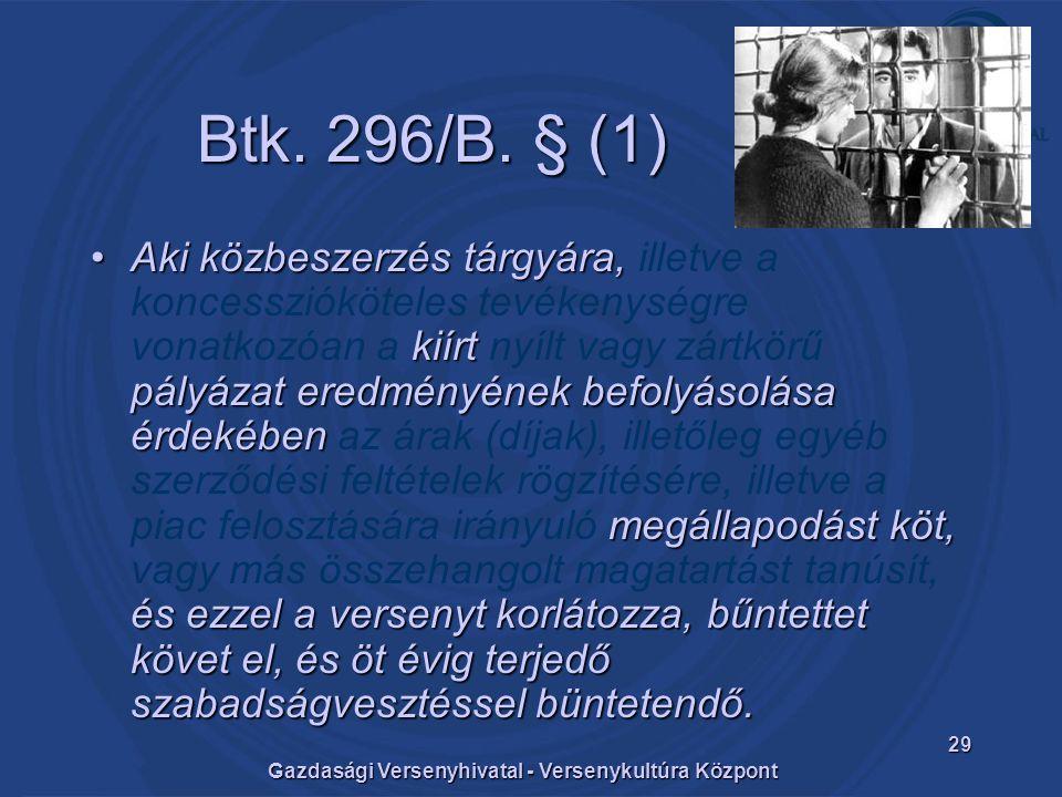 Gazdasági Versenyhivatal - Versenykultúra Központ 29 Btk.