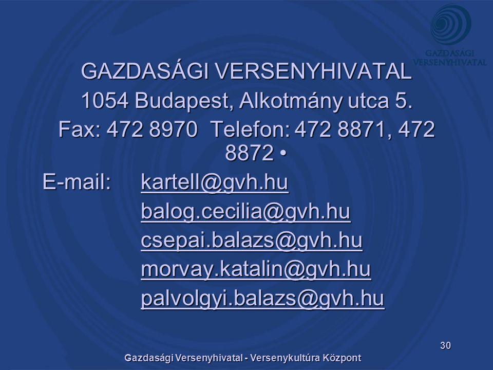 Gazdasági Versenyhivatal - Versenykultúra Központ 30 GAZDASÁGI VERSENYHIVATAL 1054 Budapest, Alkotmány utca 5.
