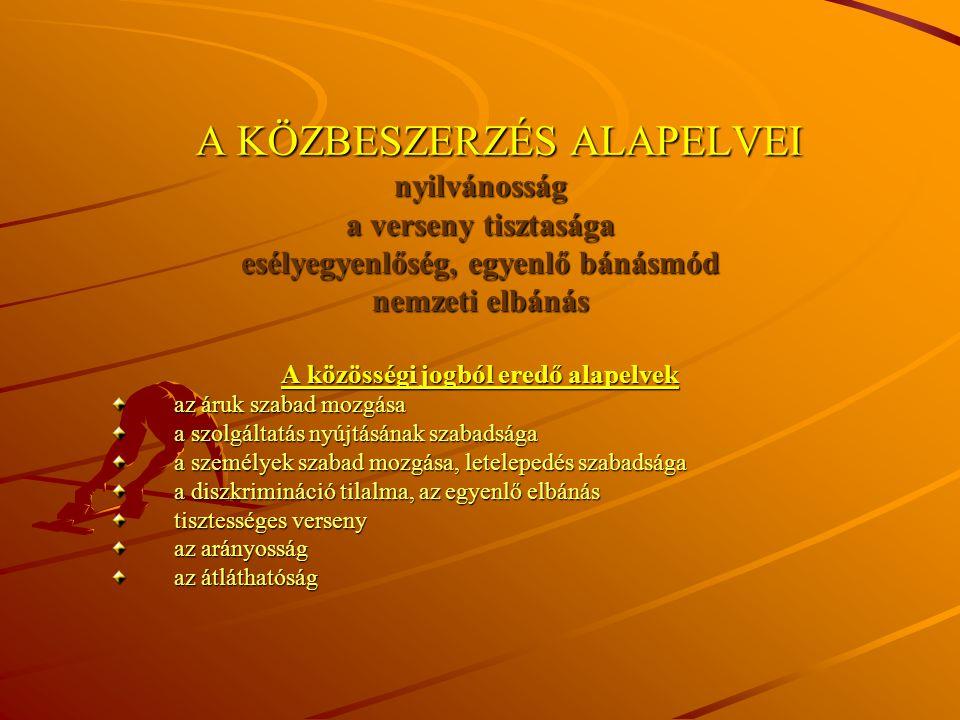 A KÖZBESZERZÉST SZABÁLYOZÓ FŐBB HAZAI JOGSZABÁLYOK 2003.