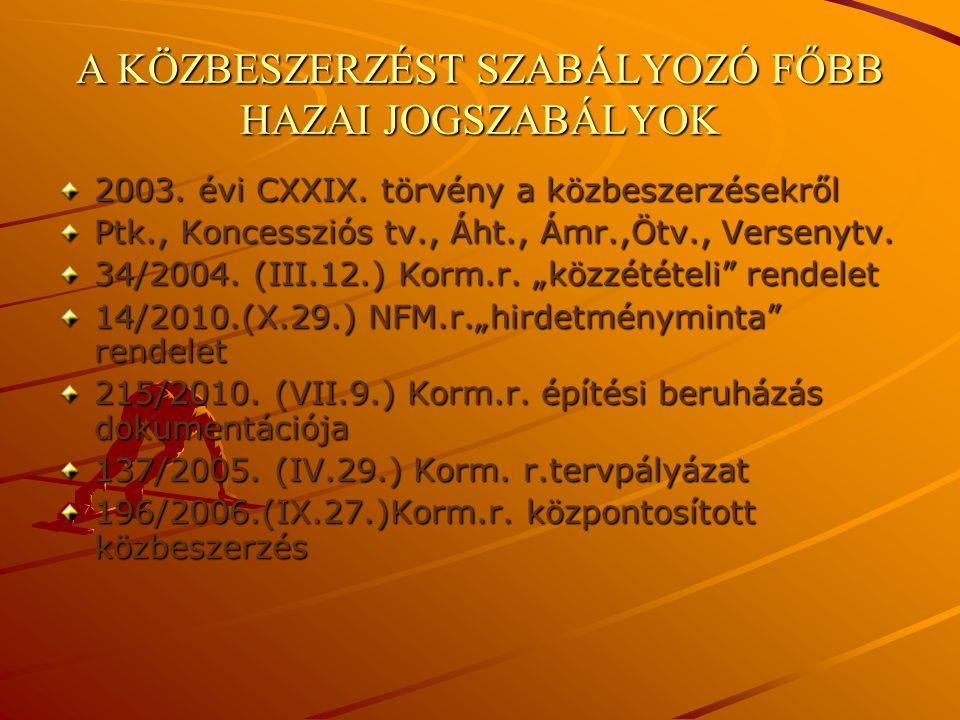 A KÖZBESZERZÉST SZABÁLYOZÓ FŐBB HAZAI JOGSZABÁLYOK 2003. évi CXXIX. törvény a közbeszerzésekről Ptk., Koncessziós tv., Áht., Ámr.,Ötv., Versenytv. 34/