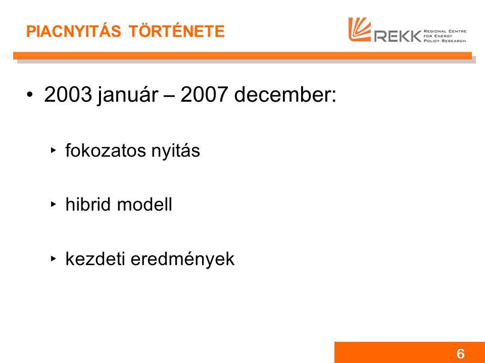 6 PIACNYITÁS TÖRTÉNETE 2003 január – 2007 december: ‣fokozatos nyitás ‣hibrid modell ‣kezdeti eredmények