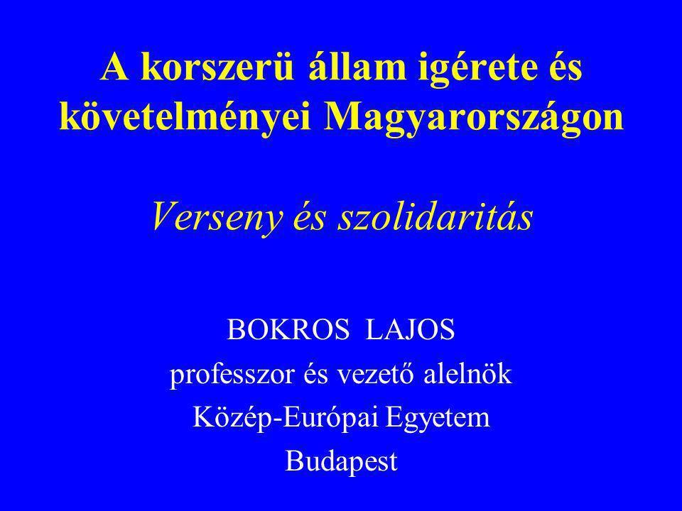 Államháztartási reform indokai Közjavak, -szolgáltatások romló minősége Korántsem egyenlő esélyü hozzáférés Munkaerő egyenlőtlen fejlődése Gazdasági növekedés fékje Gazdaság és társadalom megkettőződése Társadalmi szolidaritás további gyengülése Nemzetközi versenyképesség lassú romlása Felzárkózás, tényleges EU-integráció gátja