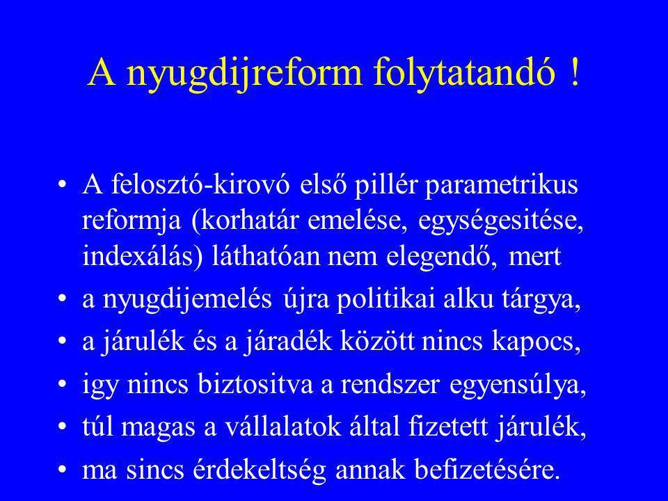 A nyugdijreform folytatandó ! A felosztó-kirovó első pillér parametrikus reformja (korhatár emelése, egységesitése, indexálás) láthatóan nem elegendő,
