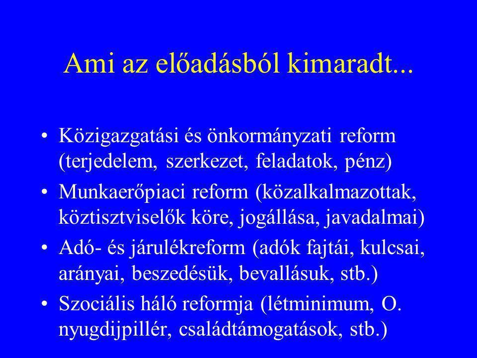 Ami az előadásból kimaradt... Közigazgatási és önkormányzati reform (terjedelem, szerkezet, feladatok, pénz) Munkaerőpiaci reform (közalkalmazottak, k