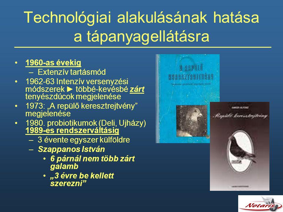 Technológiai alakulásának hatása a tápanyagellátásra 1960-as évekig –Extenzív tartásmód 1962-63 Intenzív versenyzési módszerek ► többé-kevésbé zárt te
