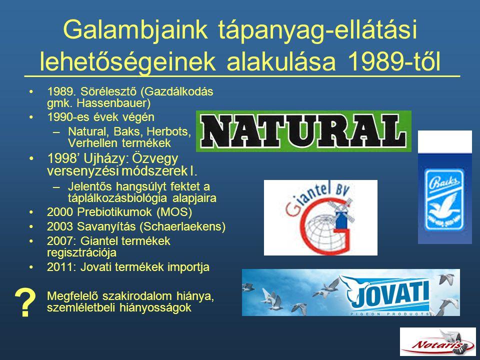 Galambjaink tápanyag-ellátási lehetőségeinek alakulása 1989-től 1989. Sörélesztő (Gazdálkodás gmk. Hassenbauer) 1990-es évek végén –Natural, Baks, Her