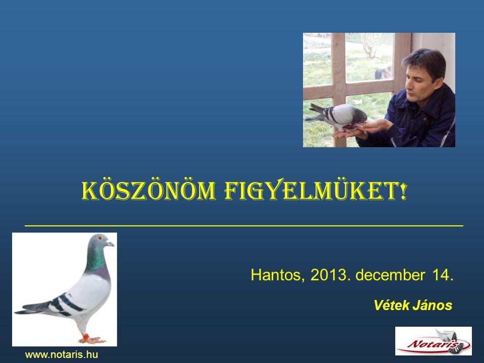 Köszönöm figyelmüket! Hantos, 2013. december 14. Vétek János www.notaris.hu