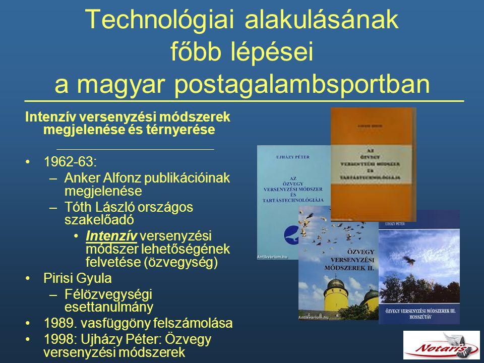 Technológiai alakulásának főbb lépései a magyar postagalambsportban Intenzív versenyzési módszerek megjelenése és térnyerése 1962-63: –Anker Alfonz pu