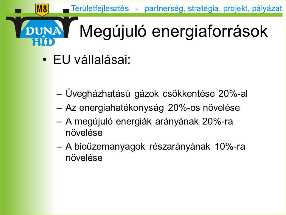 EU vállalásai: –Üvegházhatású gázok csökkentése 20%-al –Az energiahatékonyság 20%-os növelése –A megújuló energiák arányának 20%-ra növelése –A bioüzemanyagok részarányának 10%-ra növelése Megújuló energiaforrások