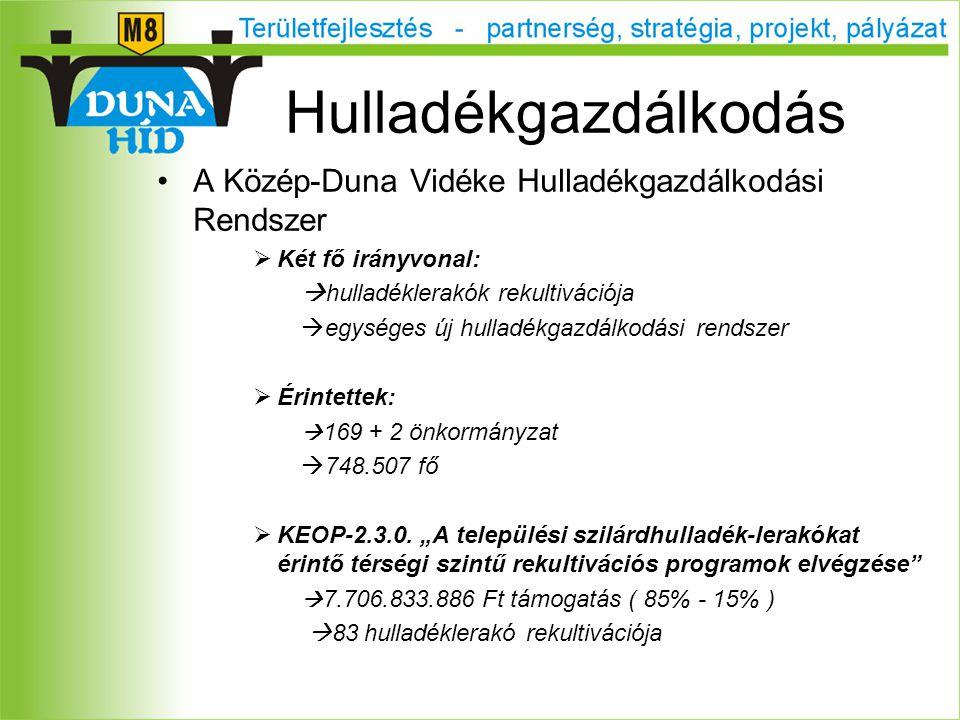 A Közép-Duna Vidéke Hulladékgazdálkodási Rendszer  Két fő irányvonal:  hulladéklerakók rekultivációja  egységes új hulladékgazdálkodási rendszer  Érintettek:  169 + 2 önkormányzat  748.507 fő  KEOP-2.3.0.