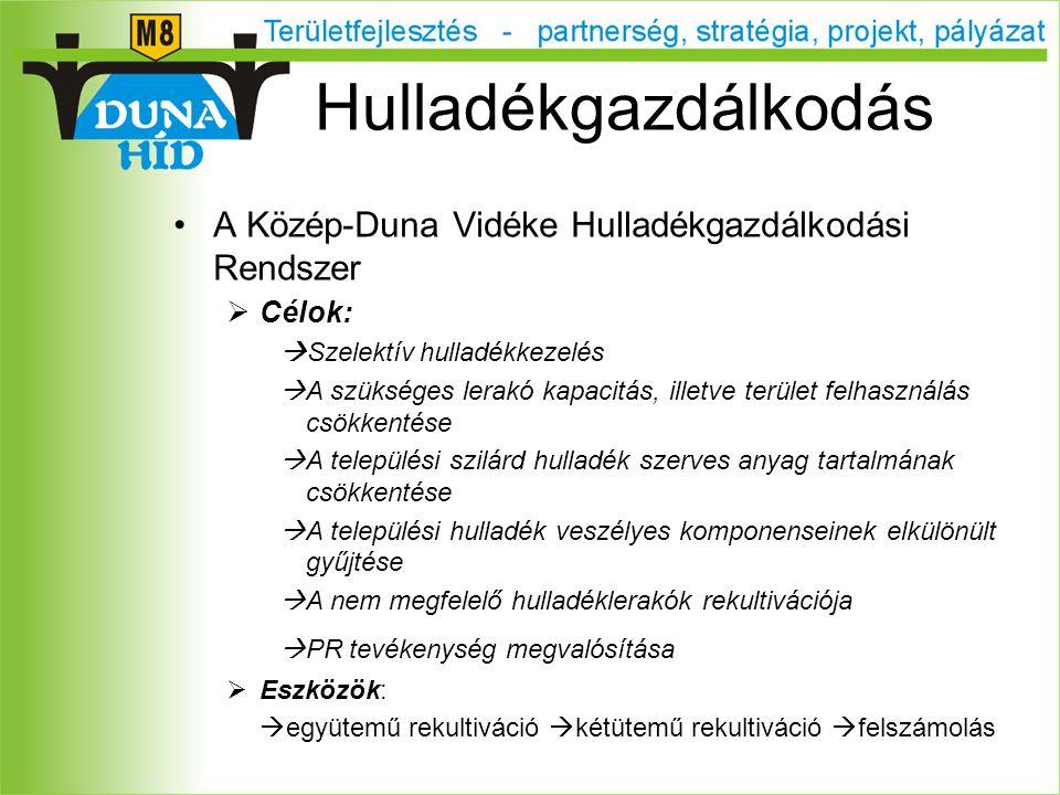 A Közép-Duna Vidéke Hulladékgazdálkodási Rendszer  Célok:  Szelektív hulladékkezelés  A szükséges lerakó kapacitás, illetve terület felhasználás csökkentése  A települési szilárd hulladék szerves anyag tartalmának csökkentése  A települési hulladék veszélyes komponenseinek elkülönült gyűjtése  A nem megfelelő hulladéklerakók rekultivációja  PR tevékenység megvalósítása  Eszközök:  együtemű rekultiváció  kétütemű rekultiváció  felszámolás