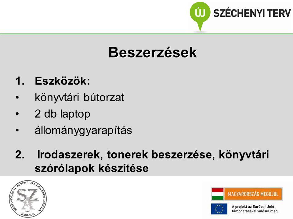 Beszerzések 1.Eszközök: könyvtári bútorzat 2 db laptop állománygyarapítás 2.