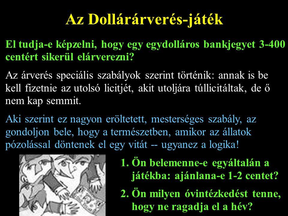 Az Dollárárverés-játék El tudja-e képzelni, hogy egy egydolláros bankjegyet 3-400 centért sikerül elárverezni? Az árverés speciális szabályok szerint