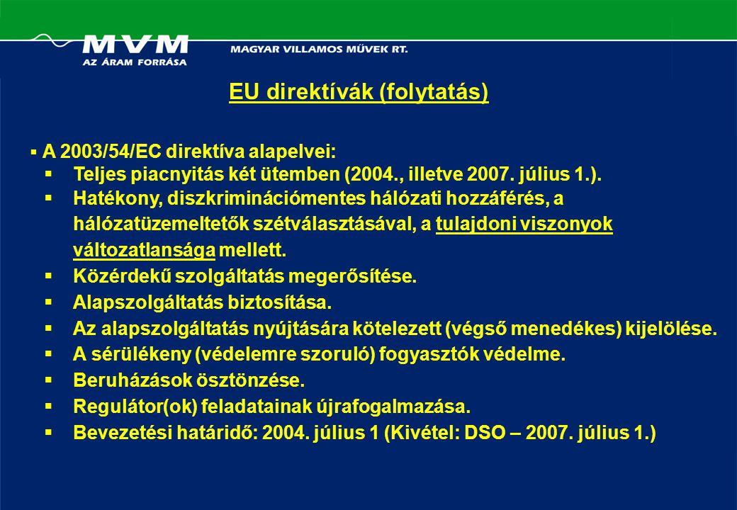 EU direktívák (folytatás)  A 2003/54/EC direktíva alapelvei:  Teljes piacnyitás két ütemben (2004., illetve 2007.