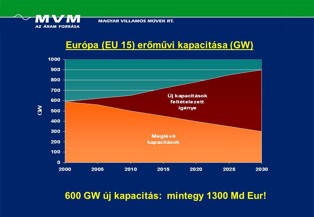 Európa (EU 15) erőművi kapacitása (GW) 600 GW új kapacitás: mintegy 1300 Md Eur!