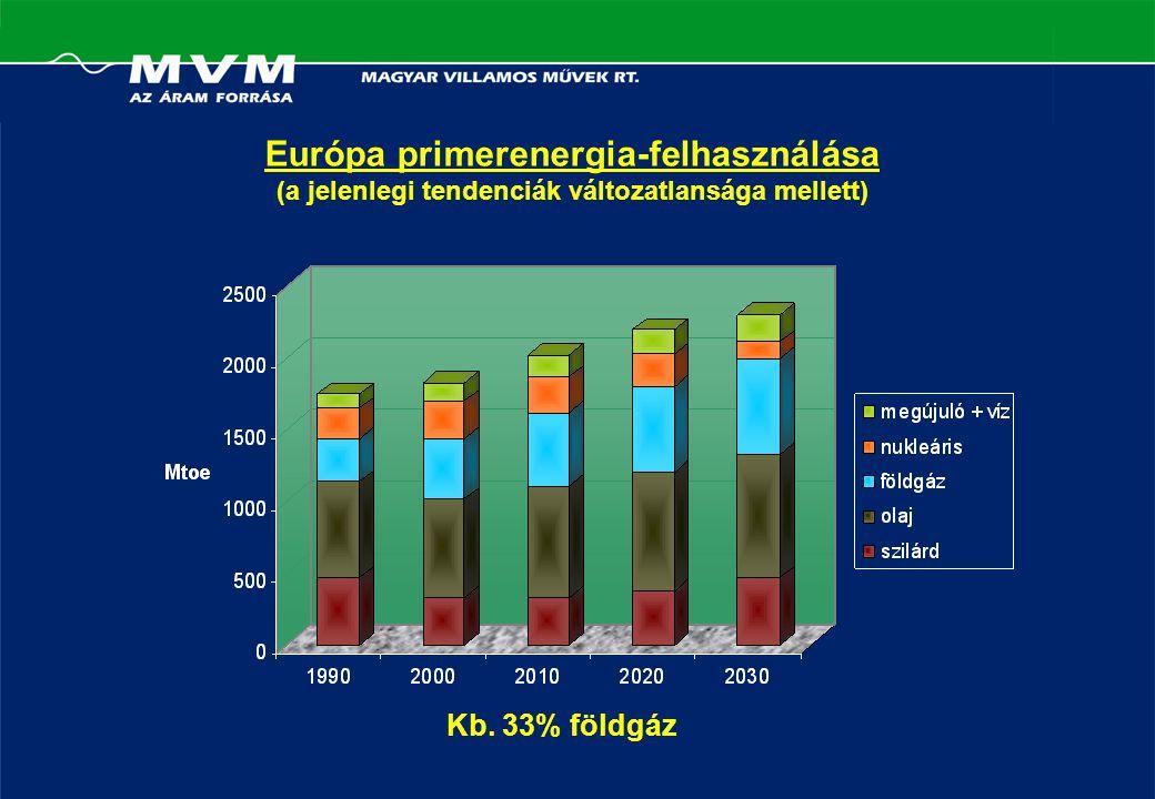 Európa primerenergia-felhasználása (a jelenlegi tendenciák változatlansága mellett) Kb. 33% földgáz