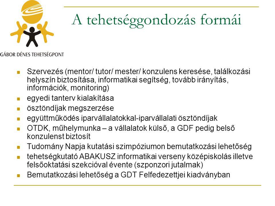 A tehetséggondozás formái Szervezés (mentor/ tutor/ mester/ konzulens keresése, találkozási helyszín biztosítása, informatikai segítség, tovább irányí
