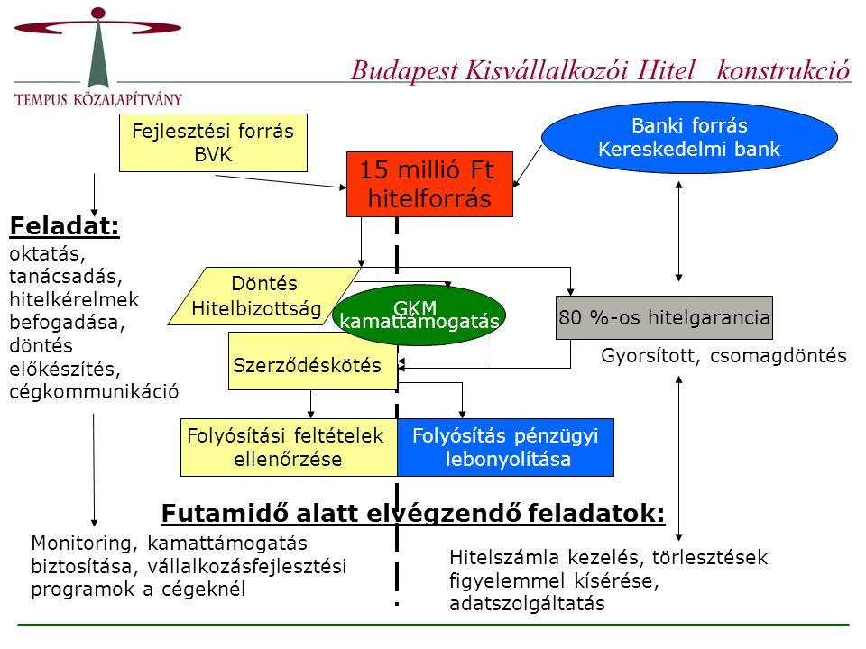 Budapest Kisvállalkozói Hitel konstrukció Fejlesztési forrás BVK Banki forrás Kereskedelmi bank 15 millió Ft hitelforrás Döntés Hitelbizottság Feladat: oktatás, tanácsadás, hitelkérelmek befogadása, döntés előkészítés, cégkommunikáció 80 %-os hitelgarancia Szerződéskötés Folyósítási feltételek ellenőrzése Folyósítás pénzügyi lebonyolítása Monitoring, kamattámogatás biztosítása, vállalkozásfejlesztési programok a cégeknél Futamidő alatt elvégzendő feladatok: Hitelszámla kezelés, törlesztések figyelemmel kísérése, adatszolgáltatás Gyorsított, csomagdöntés GKM kamattámogatás